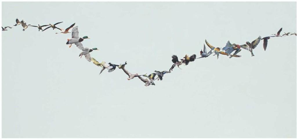 francisco-pero_linea-of-birds-3_oleo-sobre-tela_100-x-220-cm_2013