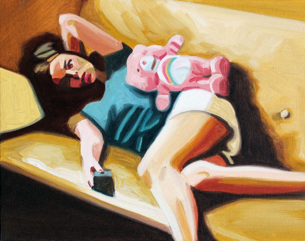Dora en el sillón- oleo sobre tela-20x 25 cm