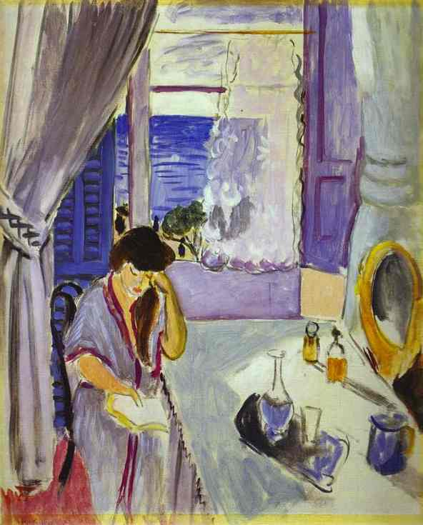 Henri-Matisse-Woman-Reading-at-a-Dressing-Table-Interieur-Nice-