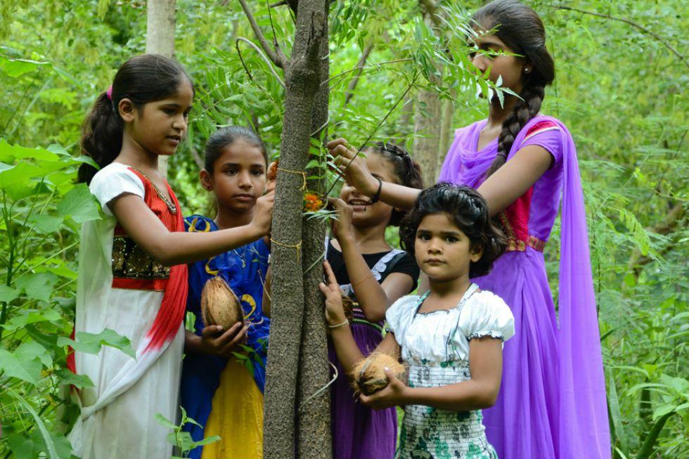 En un rito similar al de Raksha Bandhan, las niñas protegen a los árboles. Se han plantado 285.000 árboles desde que comenzó el proyecto
