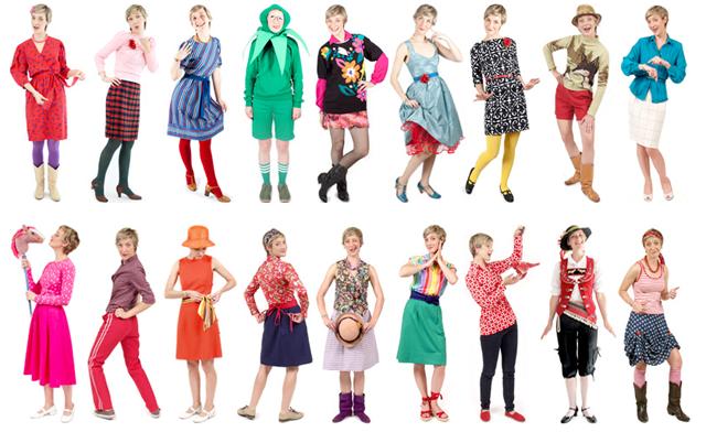 La mujer que solo viste ropa reciclada envuelta en un arco iris de color y creatividad