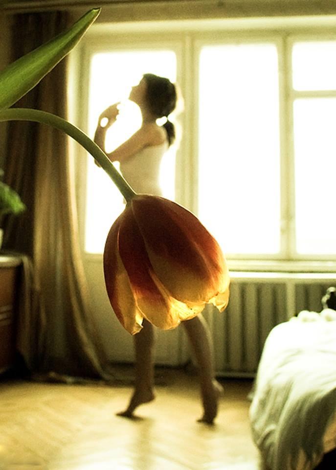 La fotógrafa Tatiana Mikhina jugando con la perspectiva crea faldas utilizando flores