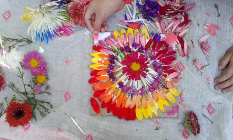 Taller de mándalas con flores para niños en Kidzapalooza