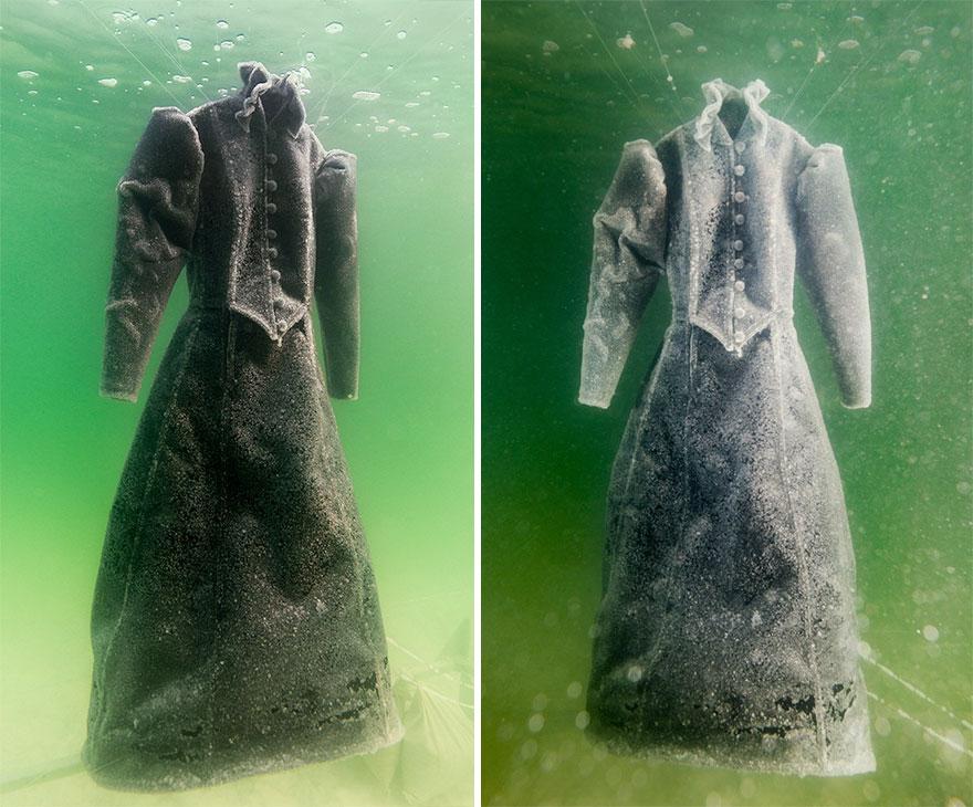 Vestido se convirtió en brillantes cristales de sal después de 2 años bajo el Mar Muerto