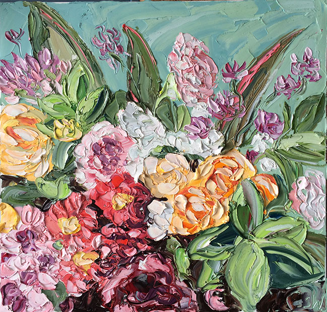 Bellas pinturas de escenas playeras y flores al óleo por Sally West