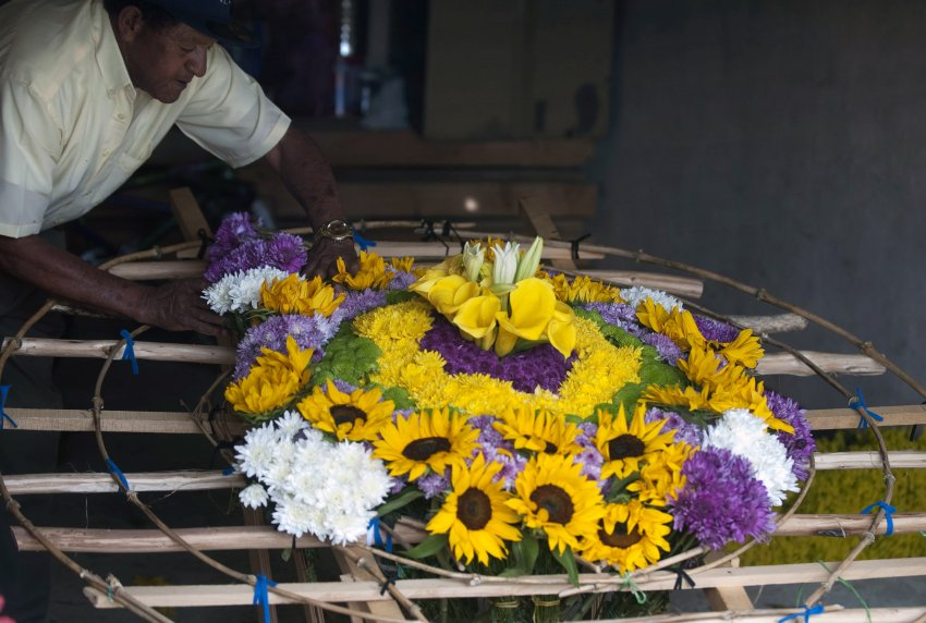 "Colombian Jairo Ramirez works in the making of a ""Silleta"" (a traditional flower arrangement) in a farm in Santa Helena municipality, Antioquia department, Colombia on August 10, 2013, on the eve of the traditional ""Silleteros"" Parade within the Flower Festival. AFP PHOTO/ Raul ARBOLEDA"