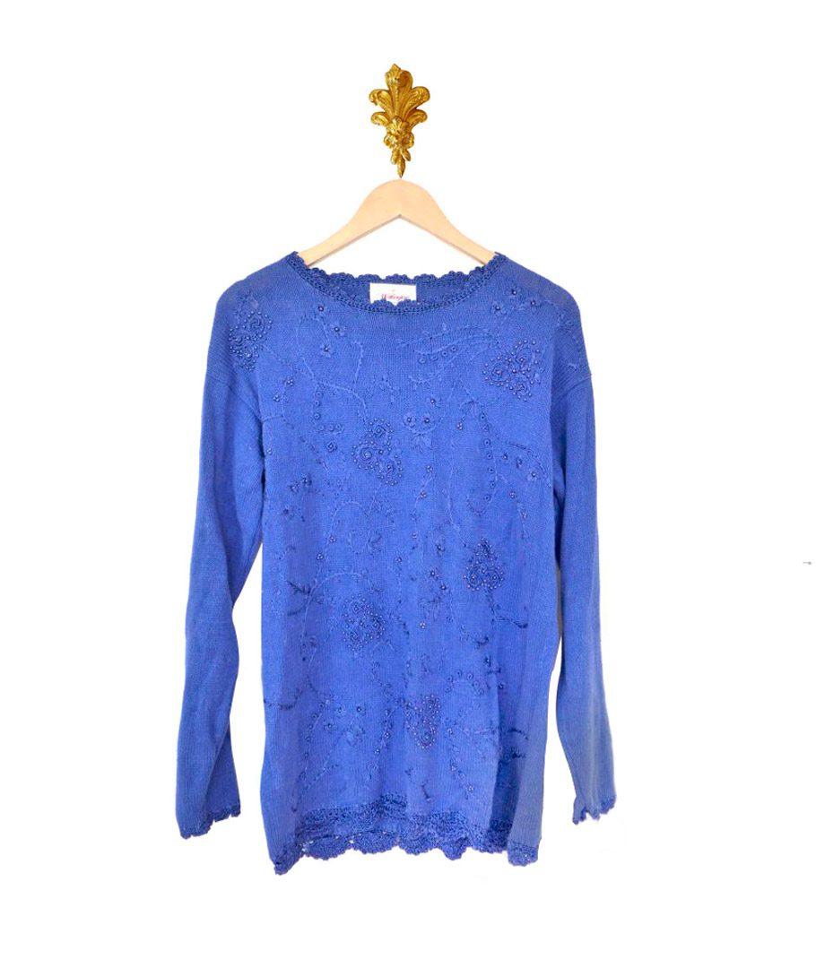 Chaleco azul mostacillas