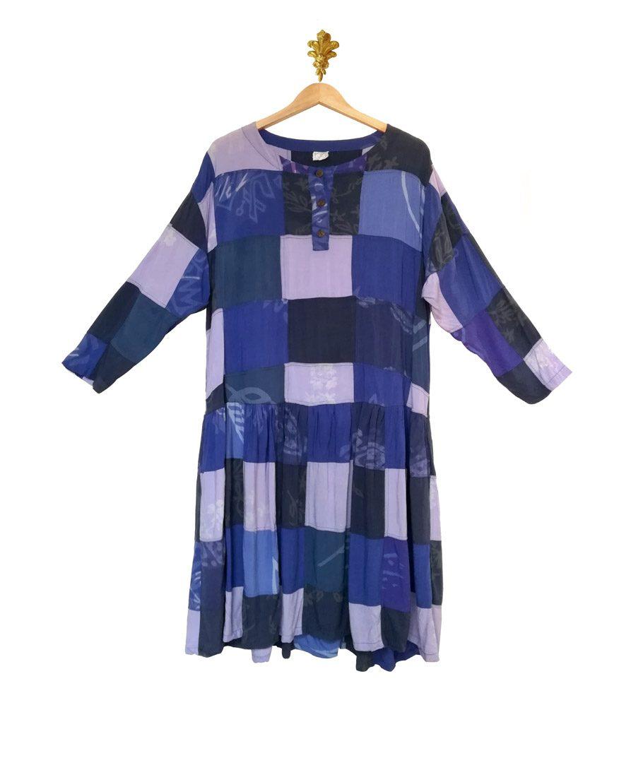 Vestido cuadros azul patchwork