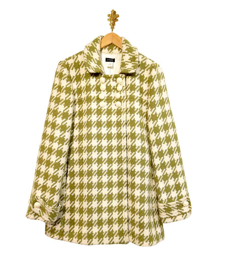 Abrigo cuadrille verde con blanco