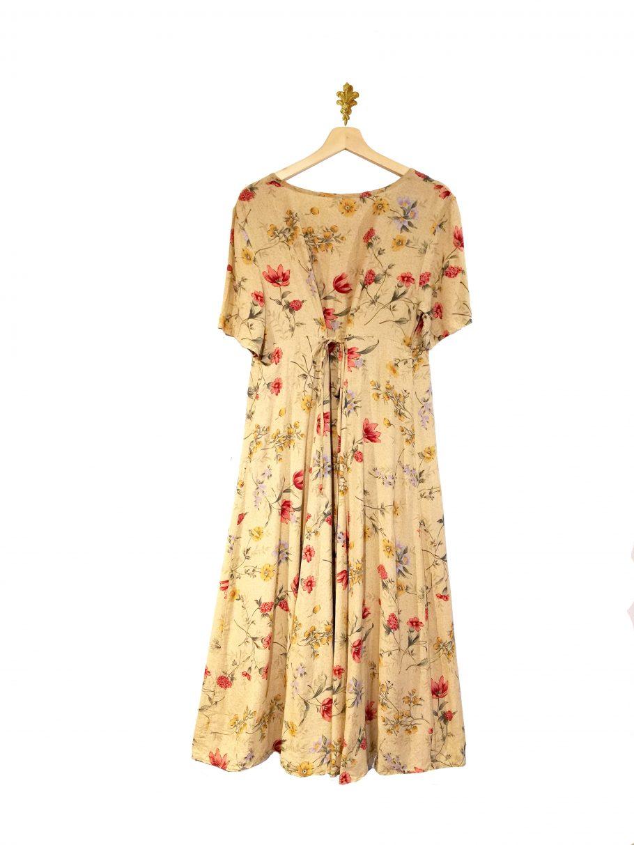 Vestido largo beige floreado