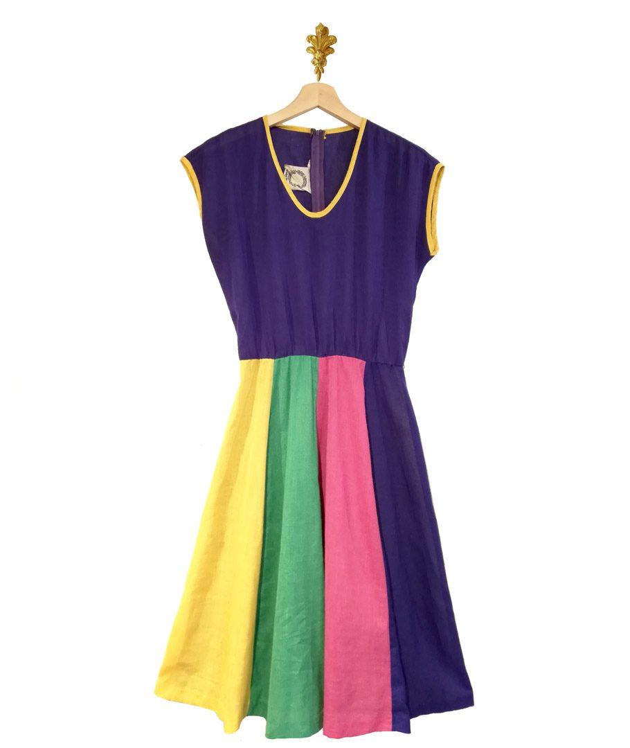 Vestido morado rayas colores