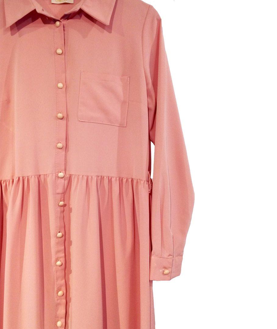 Vestido camisero palo rosa