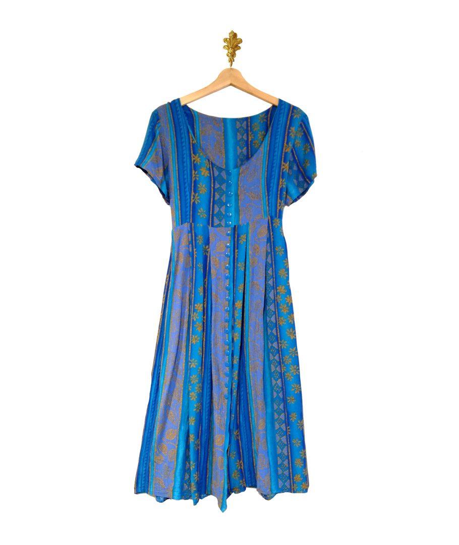 Vestido azul diseño hojas