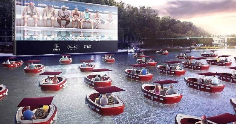 El novedoso cine flotante en el río Sena